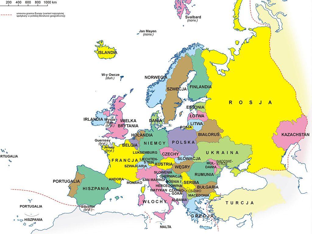 Puzzle Online Mapa Europy